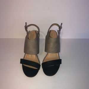 Chinese Laundry Two Tone Leather Wedge Sandals